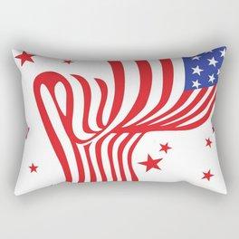 AMERICAN FLAG  & RED STARS JULY 4TH ART Rectangular Pillow