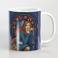 amy pond Mugs featuring Pond Nouveau by Karen Hallion Illustrations