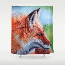 Fox Head - Ballpoint pen Shower Curtain