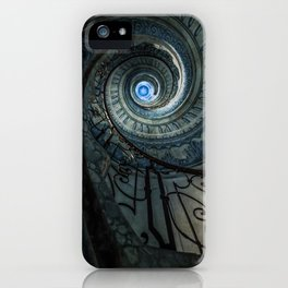 Decorated spiral staircase in blue tones iPhone Case