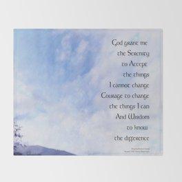 Serenity Prayer Blue Sky Gentle Clouds Throw Blanket