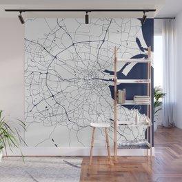 White on Navy Blue Dublin Street Map Wall Mural