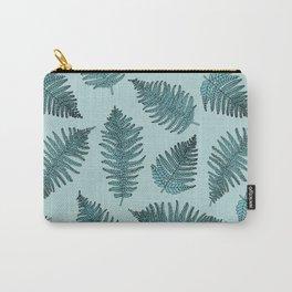 Blue fern garden botanical leaf illustration pattern Carry-All Pouch