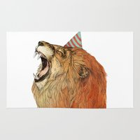 lion Area & Throw Rugs featuring Birthday Lion by Sandra Dieckmann