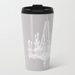 Chic White and Gray Chandelier   Travel Mug