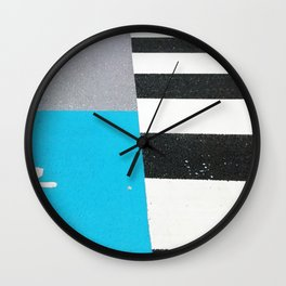 Blue Crossing Graphic Illustration of an Urban Street Photography in Japan Wall Clock