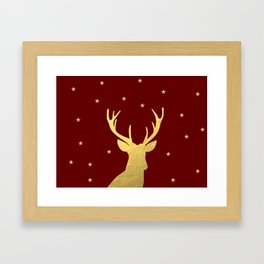 Gold Xmas Deer Framed Art Print
