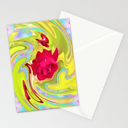 Cool Red Rose Abstract Art 096 Stationery Cards