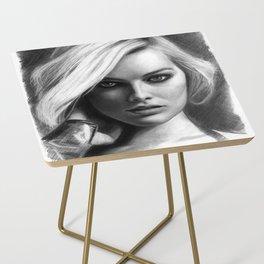 Margot Robbie Pencil Sketch Side Table
