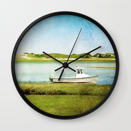 Fishing Boat with Blue Sky and Green Grass Wall Clock