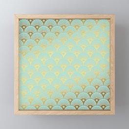 Art Deco Mermaid Scales Pattern on aqua turquoise with Gold foil effect Framed Mini Art Print