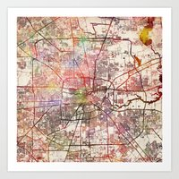 houston Art Prints featuring Houston by MapMapMaps.Watercolors