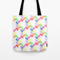 pixel Tote Bags featuring Pixel by AJJ ▲ Angela Jane Johnston