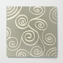 Spiral mural green Metal Print