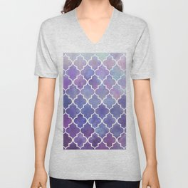 Purples & Pinks Watercolor Moroccan Pattern Unisex V-Neck