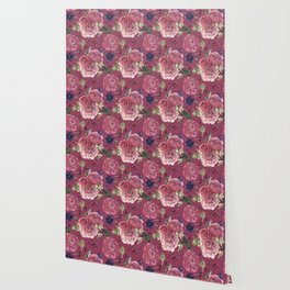 Pink Roses Pattern Romantic Chic Wallpaper