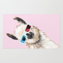 Sneaky Llama with 3D Glasses in Pink Rug