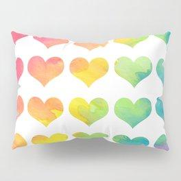 Rainbow Heart Gradient Pattern Pillow Sham