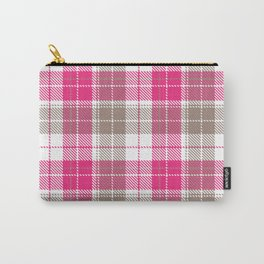 Pink & Natural Tartan Pattern Carry-All Pouch