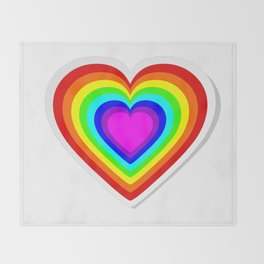 Lbgt rainbow heart Throw Blanket