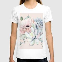 Elegant Blush Pink Succulent Garden by Nature Magick T-shirt