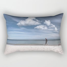 Lonely man at the beach Rectangular Pillow