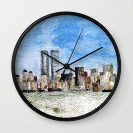 Manhattan Skyline pre September 11 Wall Clock