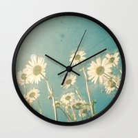 forever young Wall Clocks featuring Forever Young by Cassia Beck