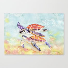 Swimming Together - Sea Turtle Canvas Print