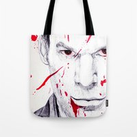 dexter Tote Bags featuring Dexter by DeMoose_Art