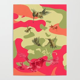 Charming Camo: Hummingbird Camouflage Poster