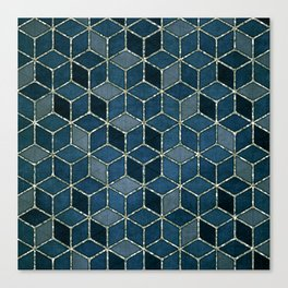 Shades Of Turquoise Blue Cubes Pattern Canvas Print