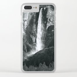 Bridalveil Falls. Yosemite California in Black and White Clear iPhone Case