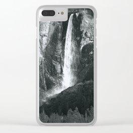 Bridalveil Falls. Yosemite California in Black and White Clear iPhone Case