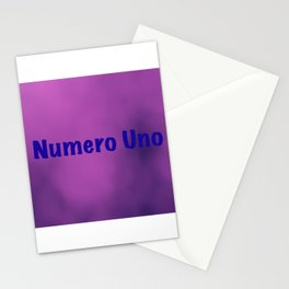"""""""Numero Uno"""" text on a light purple abstract background design Stationery Cards"""