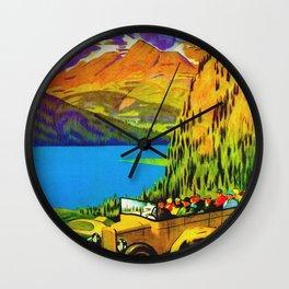 Vintage Switzerland Alpine Coach Travel Wall Clock
