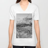 santa monica V-neck T-shirts featuring Santa Monica Beach  by Edouard Campos