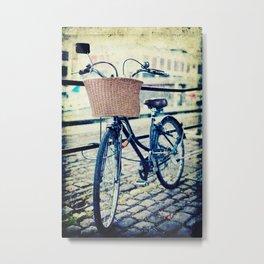 Locked bike in the city Metal Print