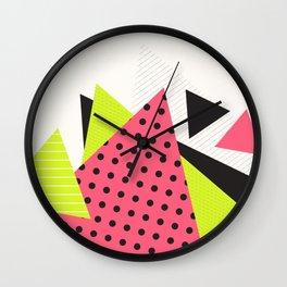 Jacksonville 1988 Memphis Throwback Retro 1990s 80s Trendy Hipster Pattern Neon Polka Dot Wall Clock