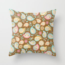 Hedgehog Paisley - Colors and Cocoa Throw Pillow