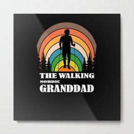 Grandpa Gift Hobby Nordic Walking Metal Print