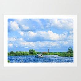 Sailing The Norfolk Broads, U.K Art Print