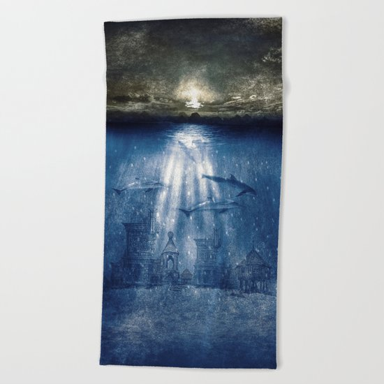 dolphins, civilization. Beach Towel