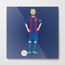 Lionel Messi - Blue Metal Print