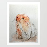 guinea pig Art Prints featuring Guinea pig by N.Romano