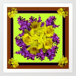 Chartreuse Design Daffodils Purple Hyacinths Brown Art Art Print