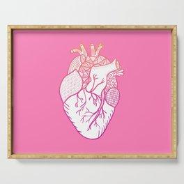 Designer Heart Pink Background Serving Tray
