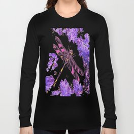 Pink & Black Dragonfly with Lilac Flowers Abstract Long Sleeve T-shirt