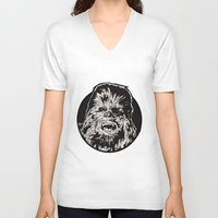 chewbacca V-neck T-shirts featuring Chewbacca by LaurenNoakes