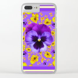 LILAC PANSIES YELLOW BUTTERFLIES & FLOWERS Clear iPhone Case